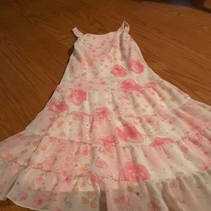 George girls pink floral sleeveless dress size 10